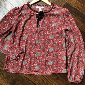 Forever 21 Paisley & Floral Blouse Top Red Sz D